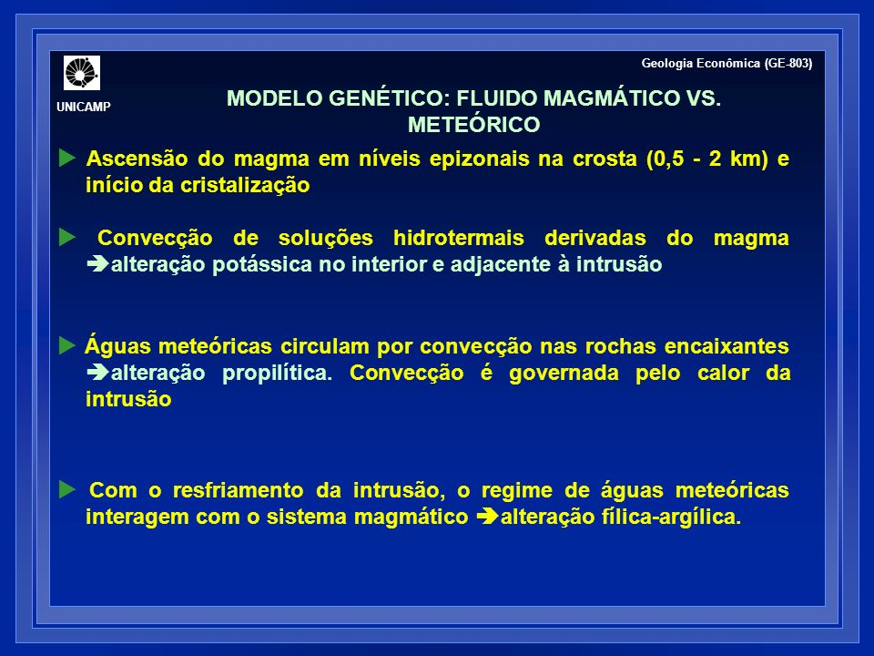 MODELO GENÉTICO: FLUIDO MAGMÁTICO VS. METEÓRICO