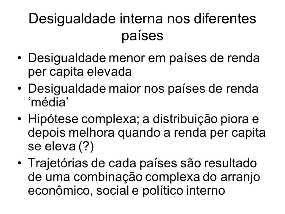 Desigualdade interna nos diferentes países