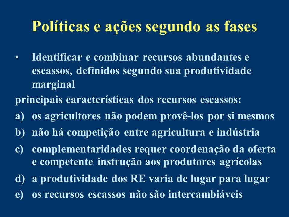 Políticas e ações segundo as fases