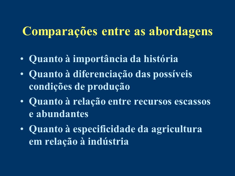 Comparações entre as abordagens