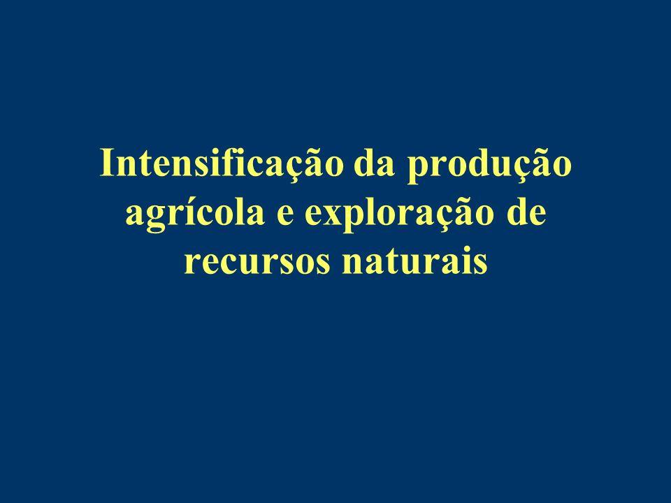 Intensificação da produção agrícola e exploração de recursos naturais