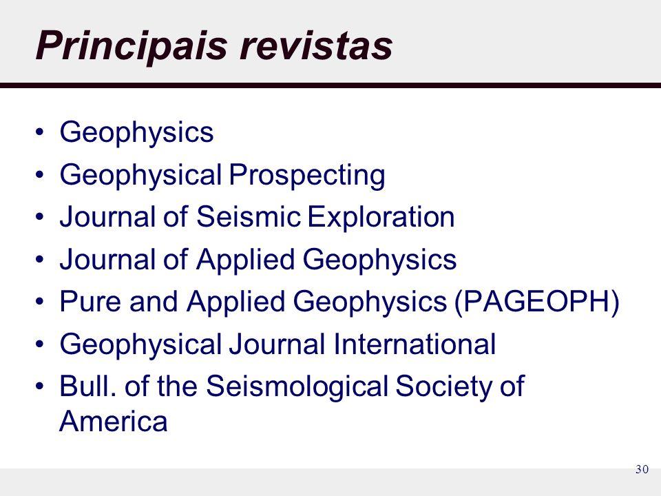 Principais revistas Geophysics Geophysical Prospecting