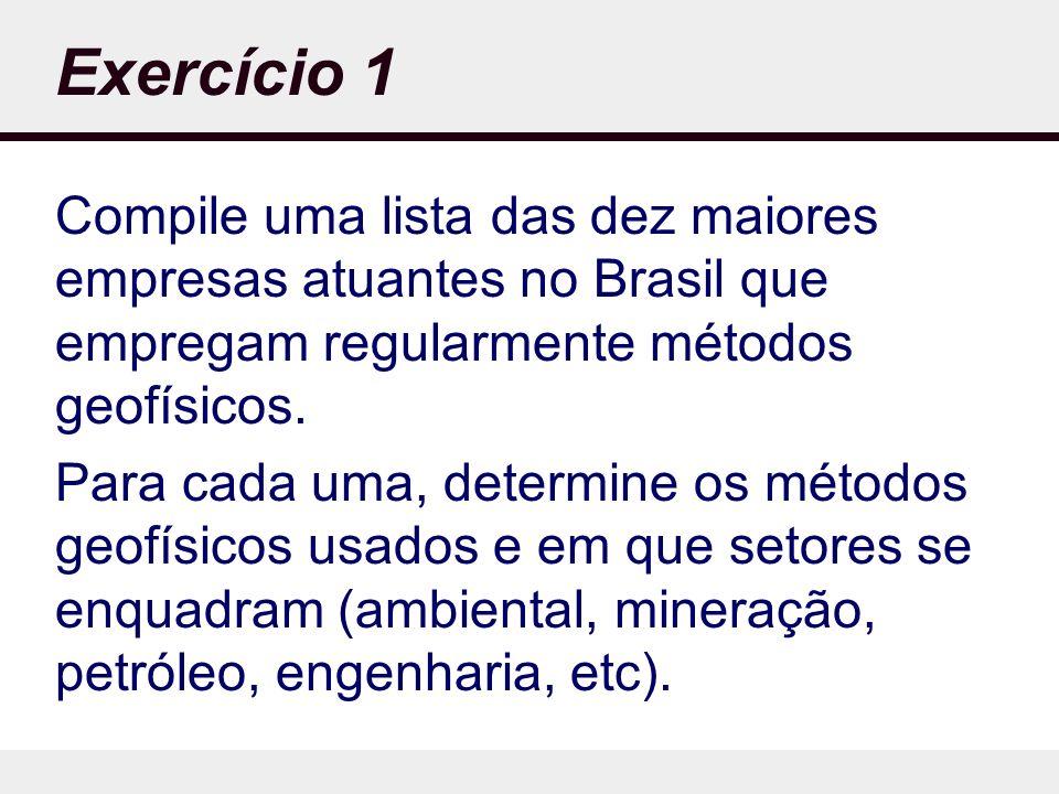 Exercício 1 Compile uma lista das dez maiores empresas atuantes no Brasil que empregam regularmente métodos geofísicos.