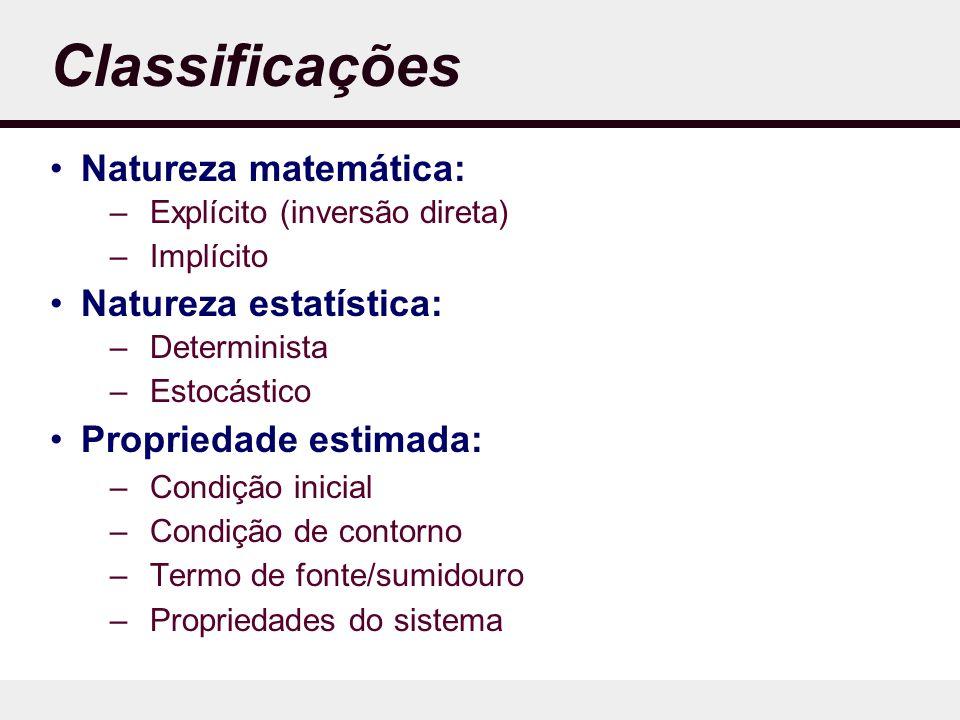 Classificações Natureza matemática: Natureza estatística:
