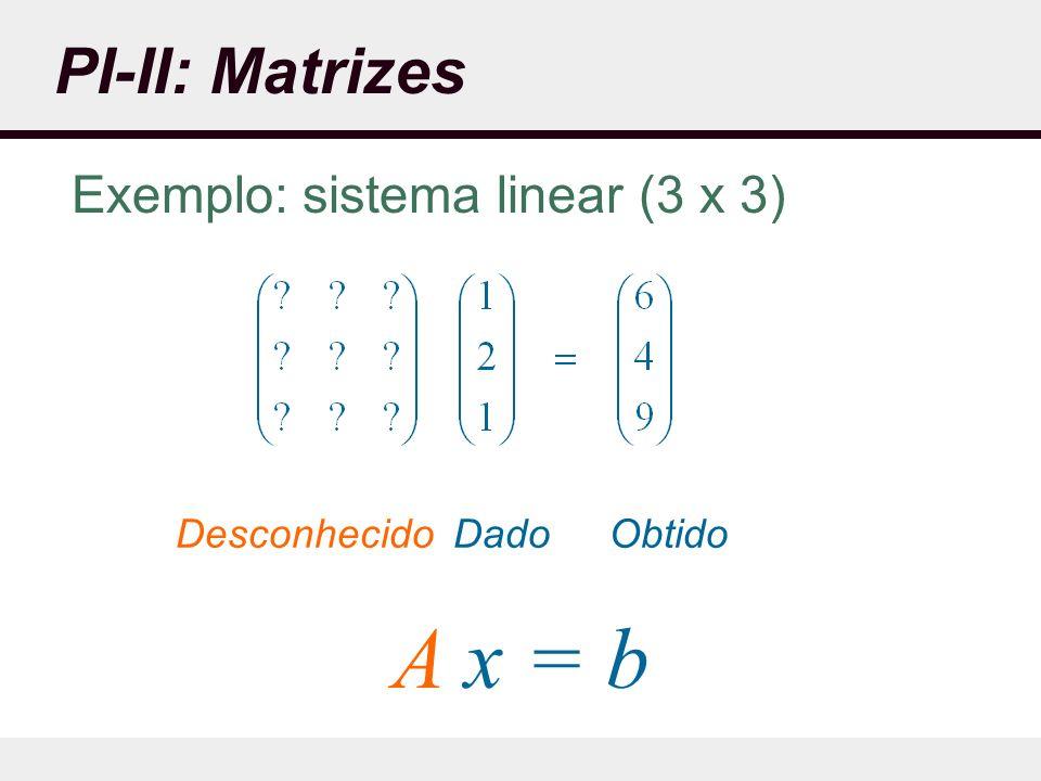 Exemplo: sistema linear (3 x 3)