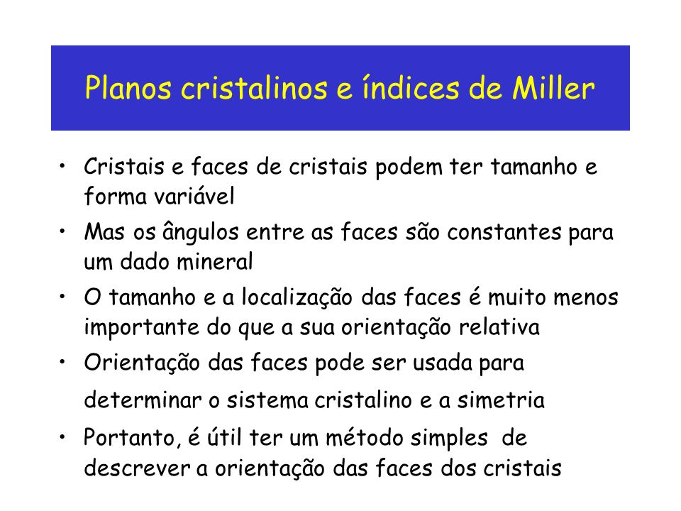Planos cristalinos e índices de Miller