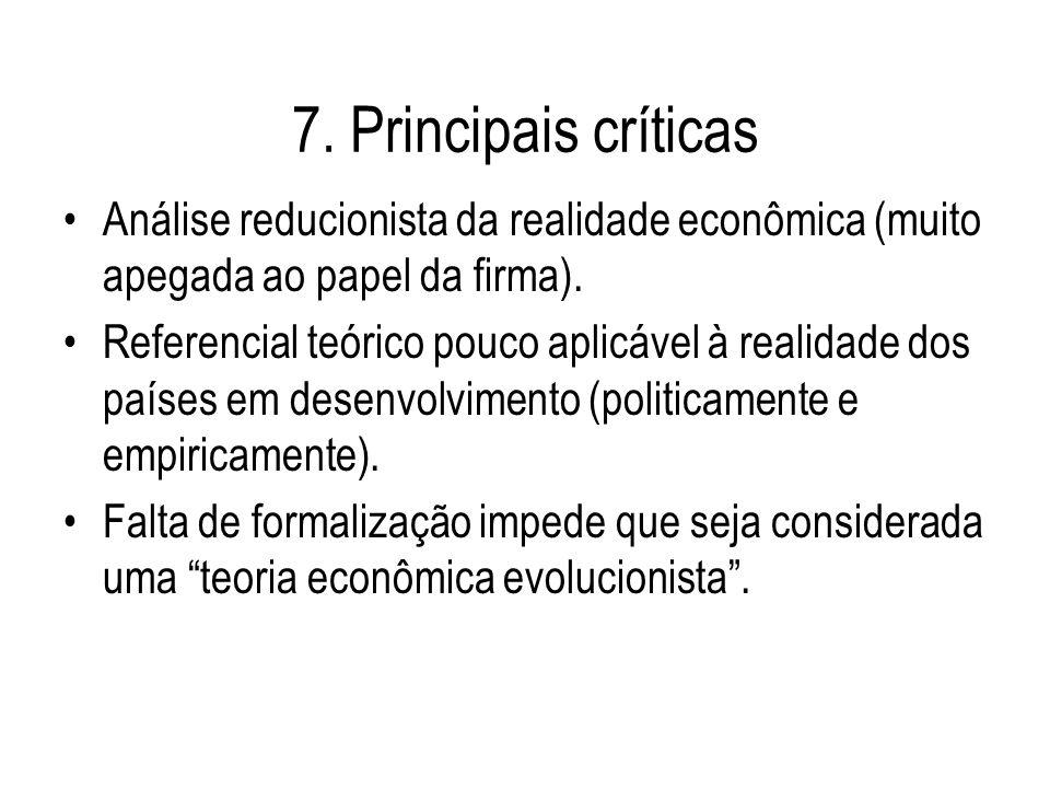 7. Principais críticas Análise reducionista da realidade econômica (muito apegada ao papel da firma).
