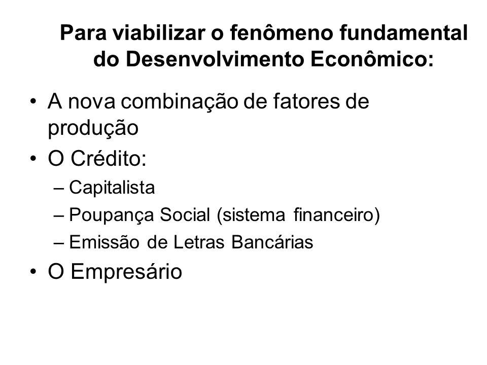 Para viabilizar o fenômeno fundamental do Desenvolvimento Econômico: