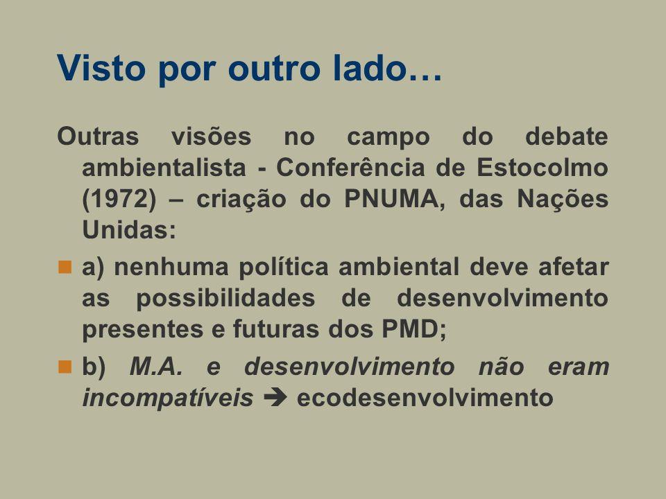 Visto por outro lado… Outras visões no campo do debate ambientalista - Conferência de Estocolmo (1972) – criação do PNUMA, das Nações Unidas: