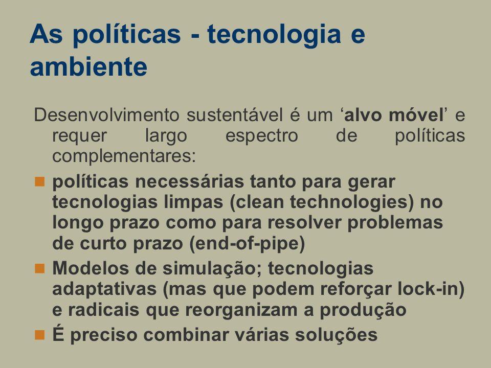 As políticas - tecnologia e ambiente