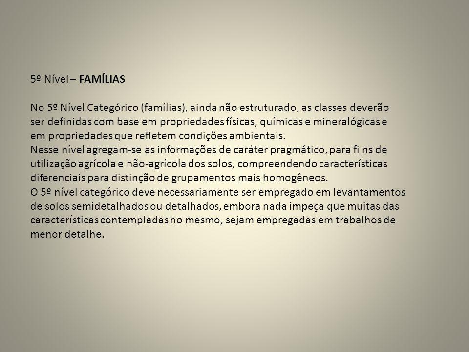 5º Nível – FAMÍLIAS No 5º Nível Categórico (famílias), ainda não estruturado, as classes deverão.