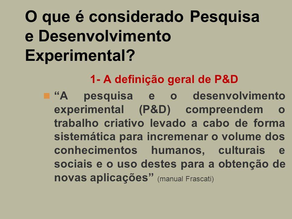 O que é considerado Pesquisa e Desenvolvimento Experimental