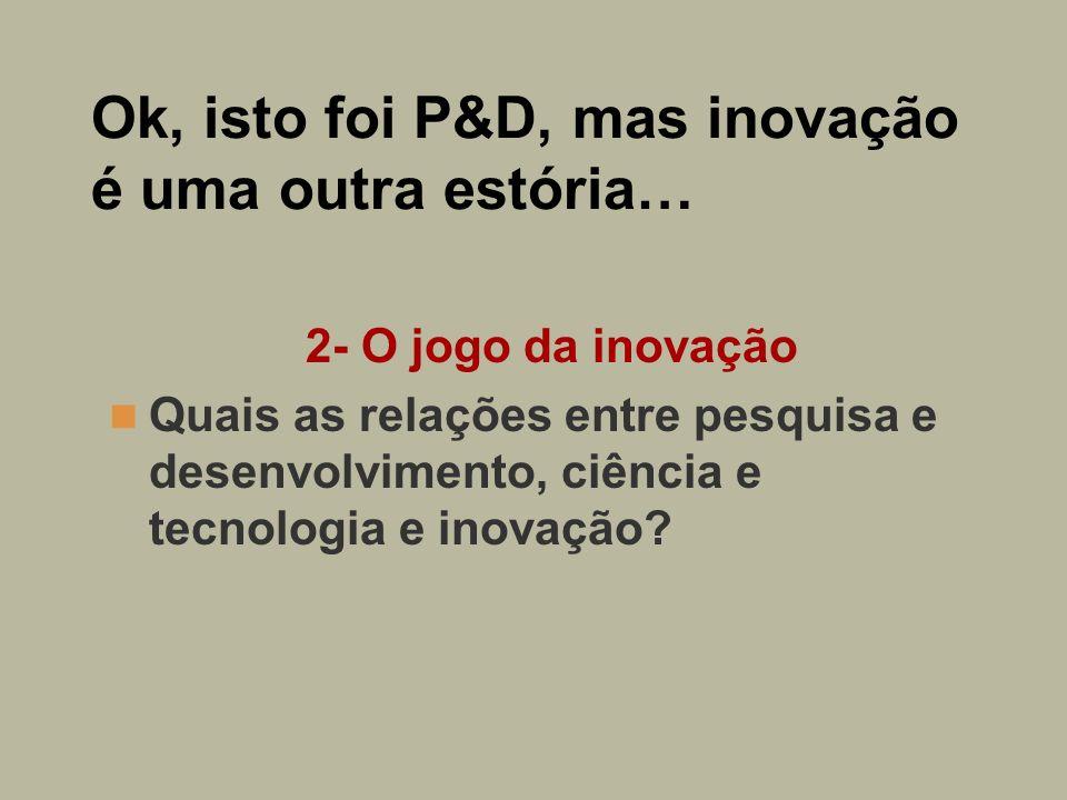 Ok, isto foi P&D, mas inovação é uma outra estória…