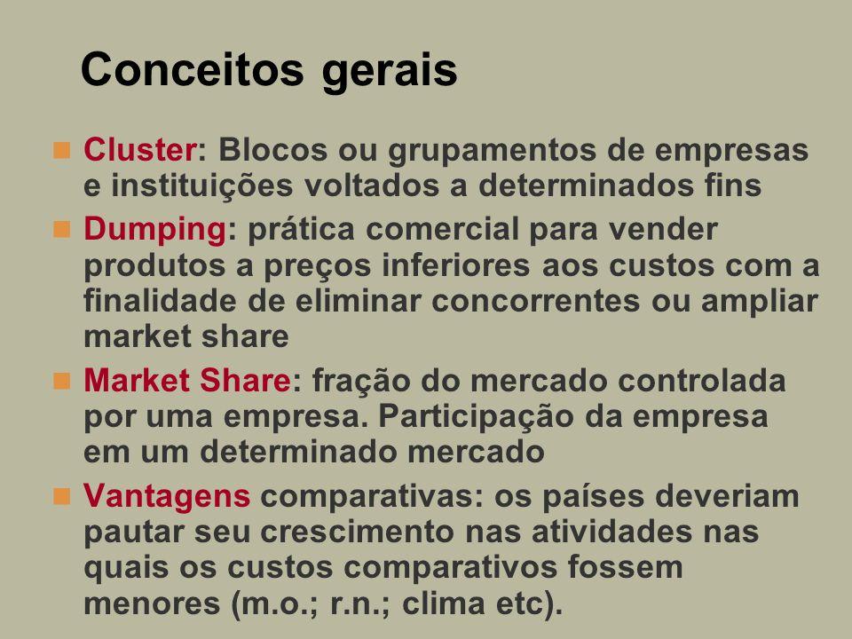 Conceitos gerais Cluster: Blocos ou grupamentos de empresas e instituições voltados a determinados fins.