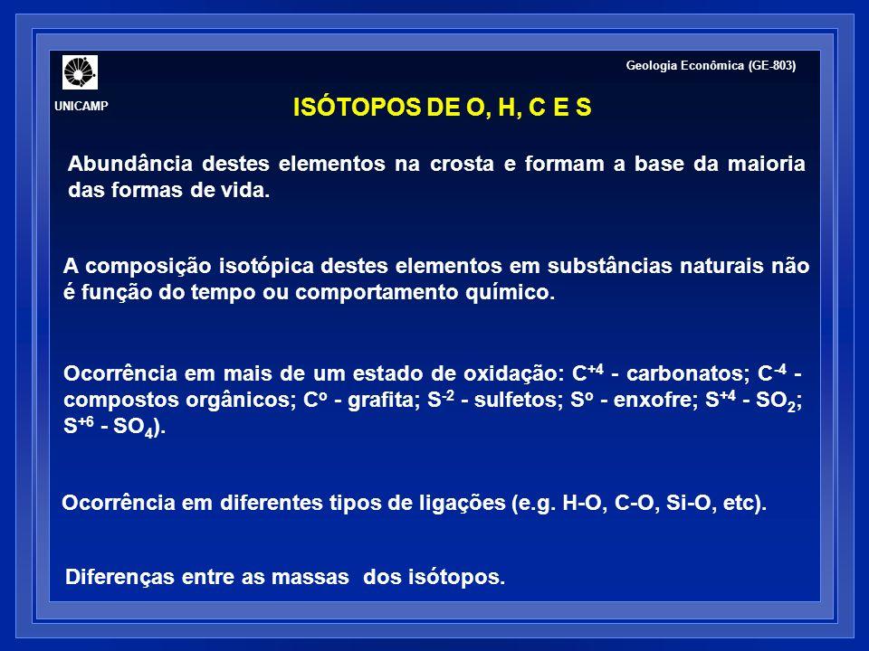 UNICAMP Geologia Econômica (GE-803) ISÓTOPOS DE O, H, C E S. Abundância destes elementos na crosta e formam a base da maioria das formas de vida.