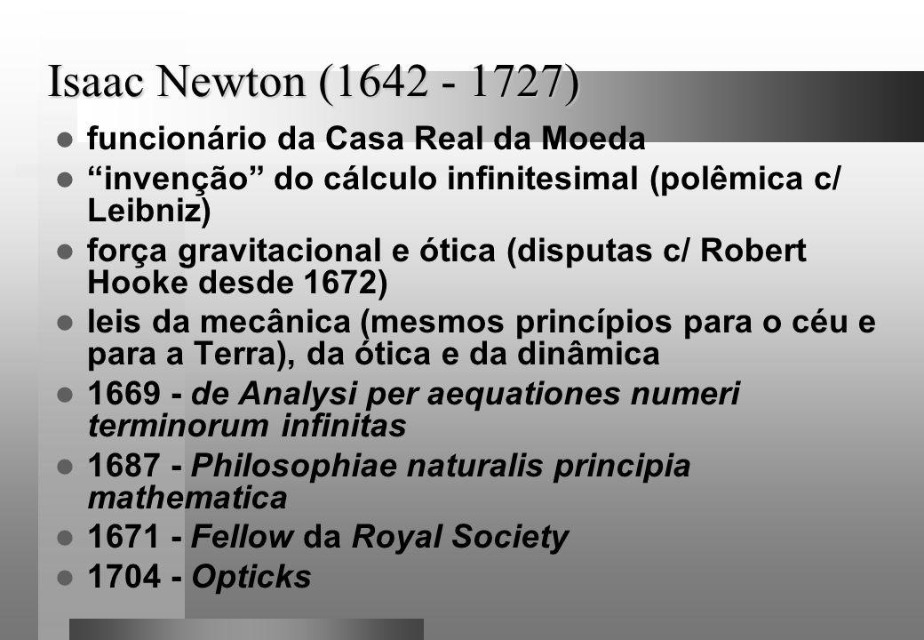 Isaac Newton (1642 - 1727) funcionário da Casa Real da Moeda