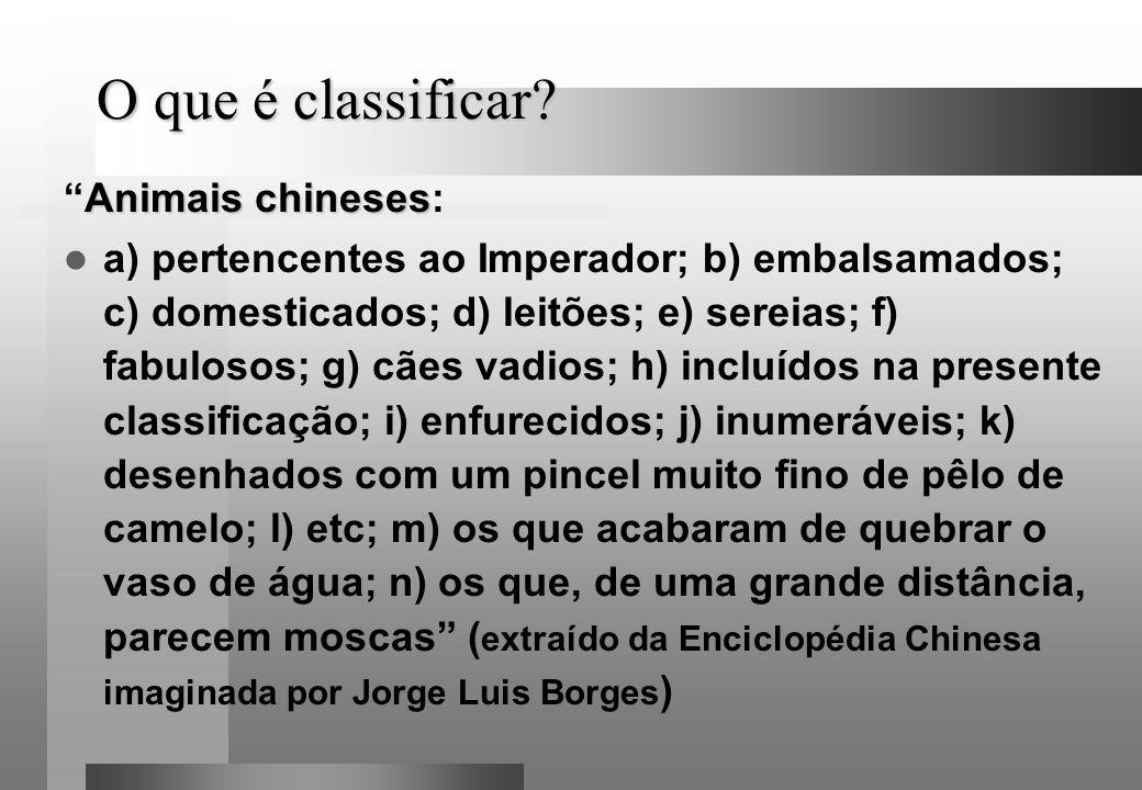 O que é classificar Animais chineses: