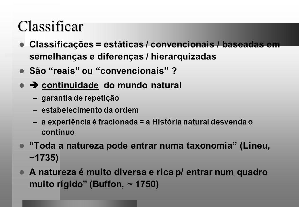 Classificar Classificações = estáticas / convencionais / baseadas em semelhanças e diferenças / hierarquizadas.