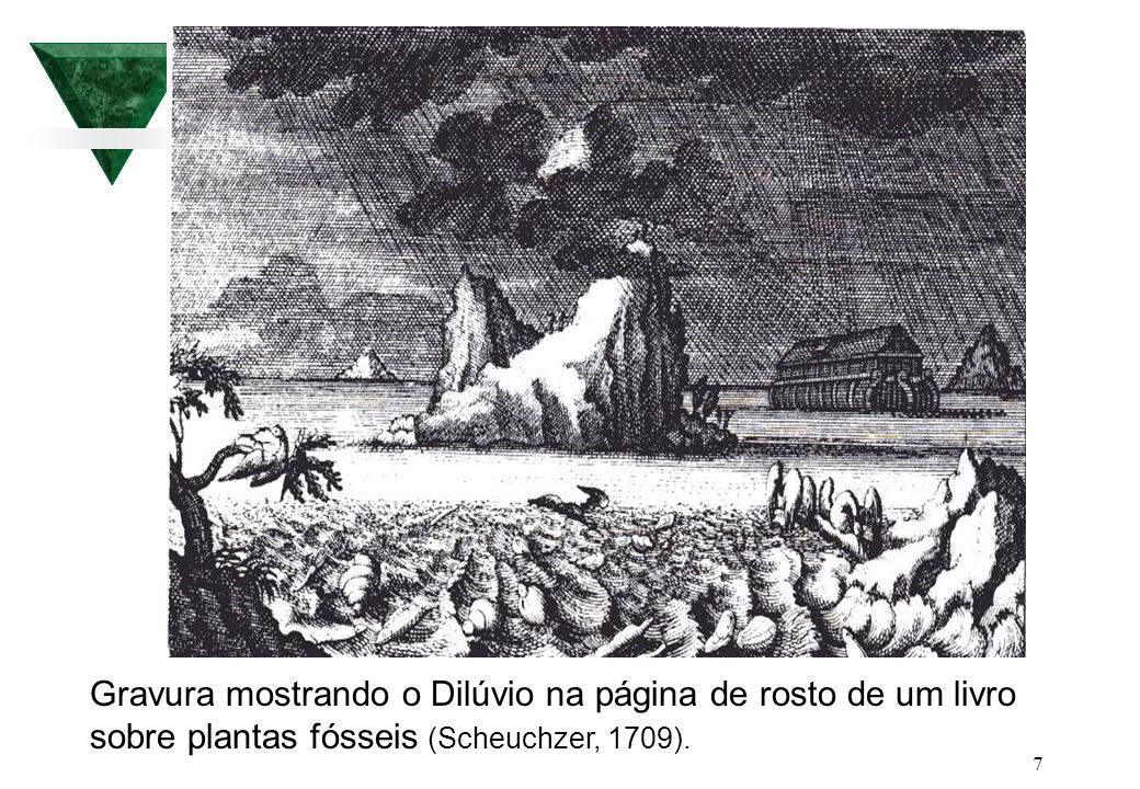 Gravura mostrando o Dilúvio na página de rosto de um livro sobre plantas fósseis (Scheuchzer, 1709).