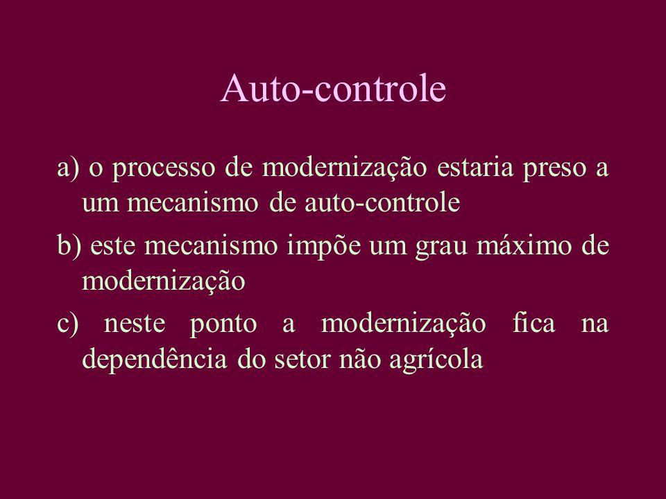 Auto-controle a) o processo de modernização estaria preso a um mecanismo de auto-controle. b) este mecanismo impõe um grau máximo de modernização.