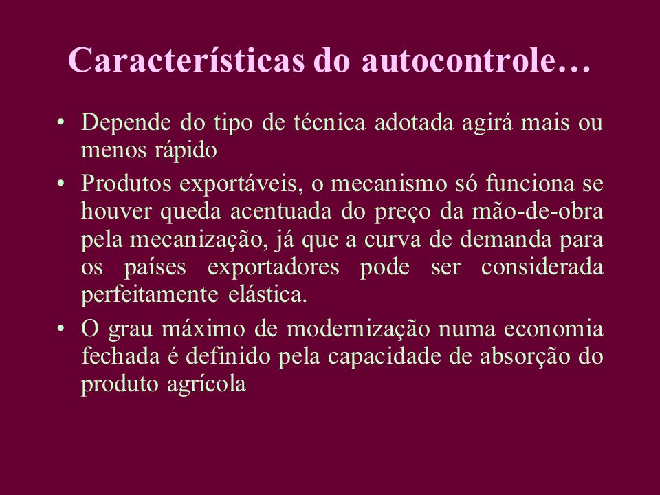 Características do autocontrole…