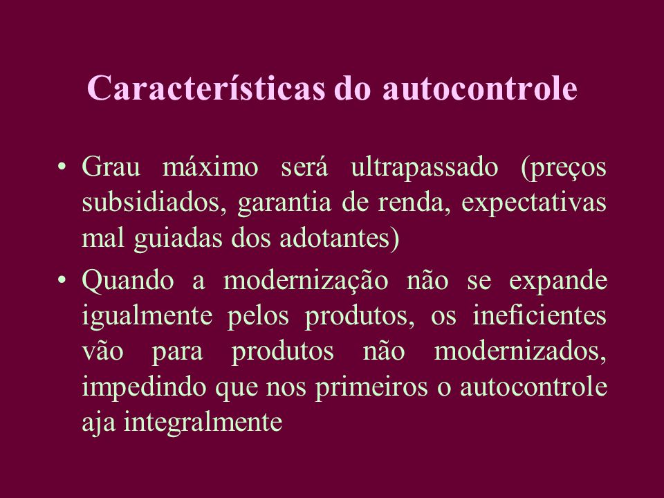 Características do autocontrole