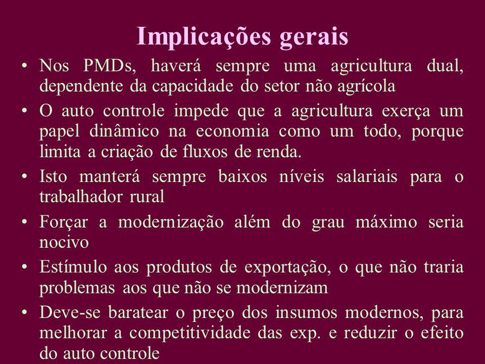 Implicações gerais Nos PMDs, haverá sempre uma agricultura dual, dependente da capacidade do setor não agrícola.