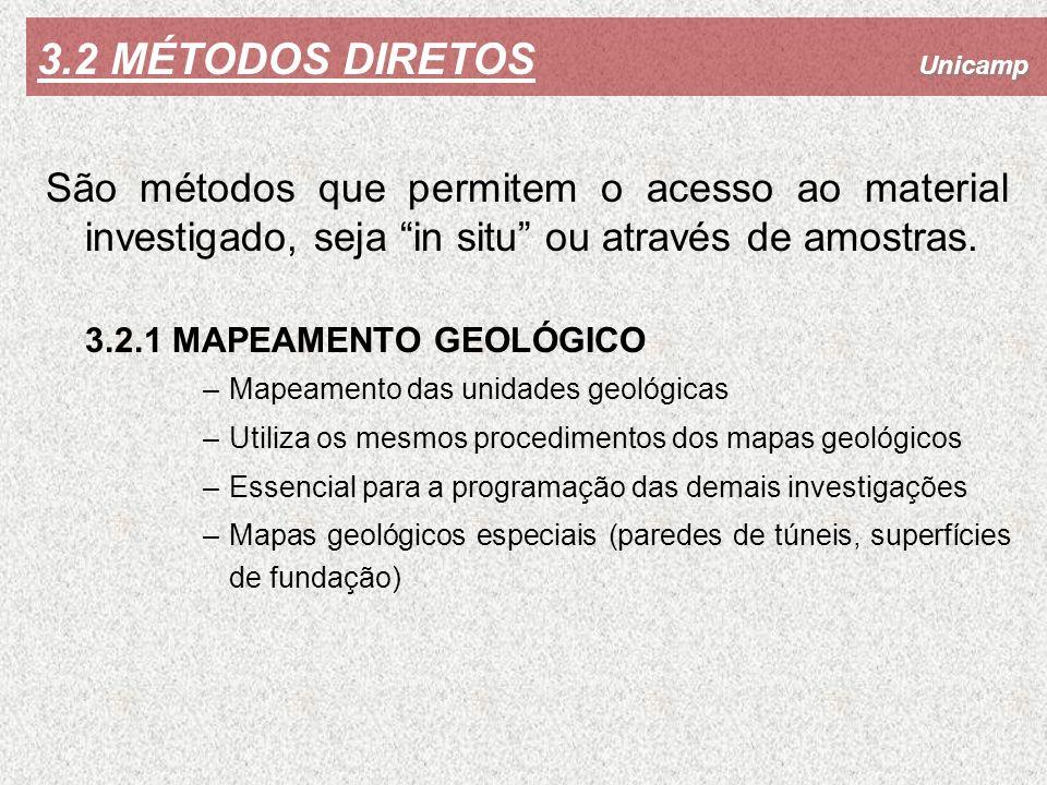 3.2 MÉTODOS DIRETOS São métodos que permitem o acesso ao material investigado, seja in situ ou através de amostras.