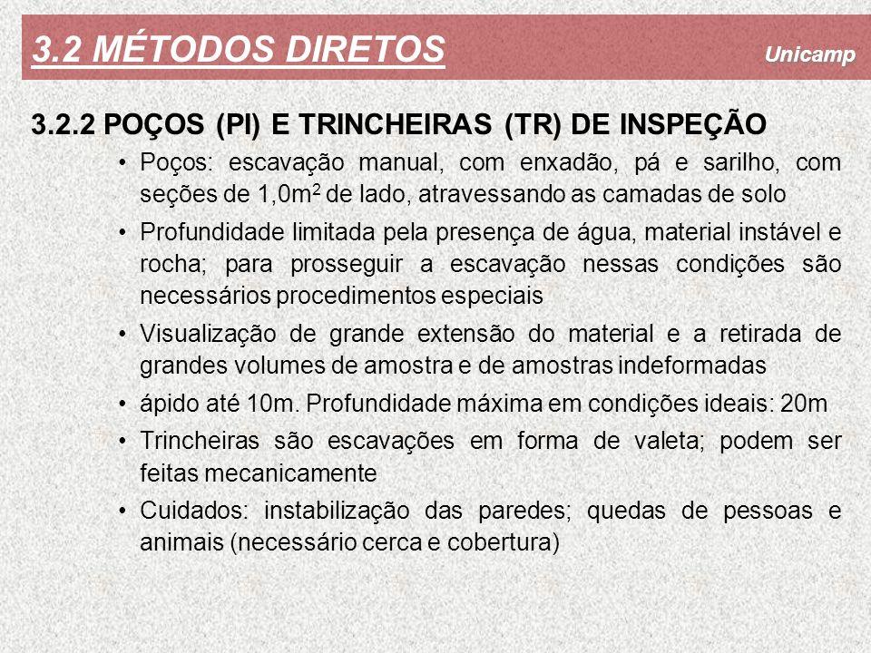 3.2 MÉTODOS DIRETOS 3.2.2 POÇOS (PI) E TRINCHEIRAS (TR) DE INSPEÇÃO