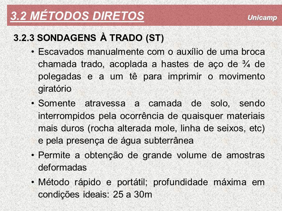 3.2 MÉTODOS DIRETOS 3.2.3 SONDAGENS À TRADO (ST)