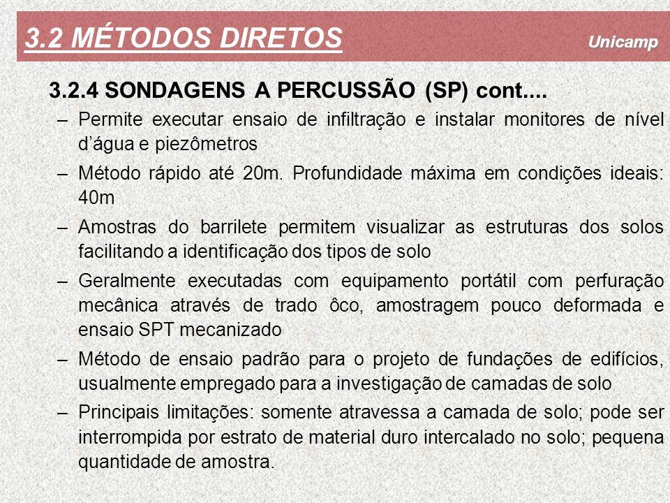3.2 MÉTODOS DIRETOS 3.2.4 SONDAGENS A PERCUSSÃO (SP) cont....