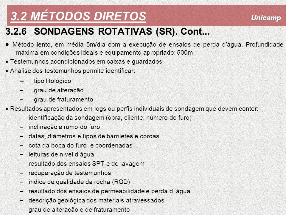 3.2 MÉTODOS DIRETOS 3.2.6 SONDAGENS ROTATIVAS (SR). Cont...