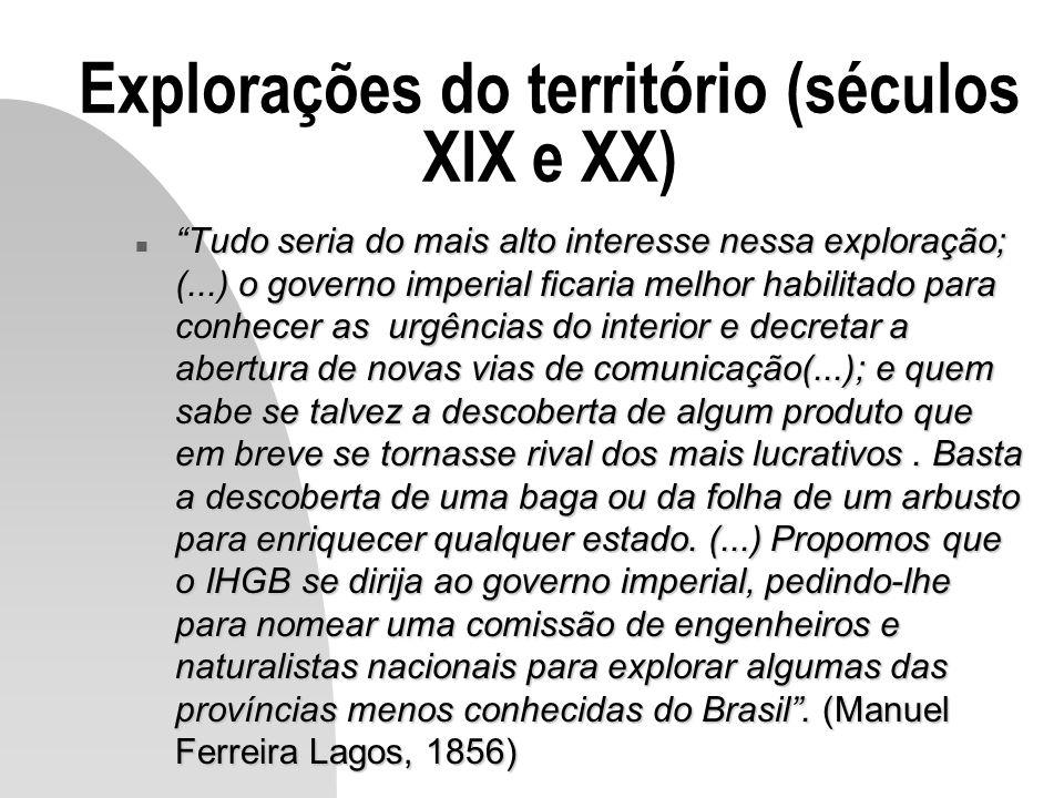 Explorações do território (séculos XIX e XX)