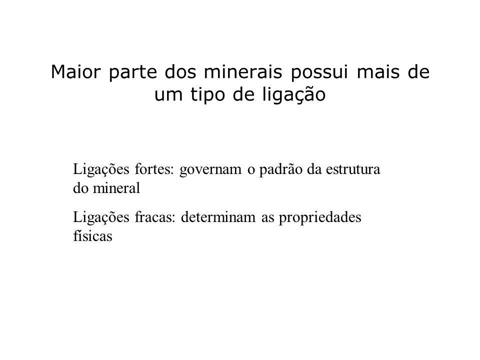 Maior parte dos minerais possui mais de um tipo de ligação