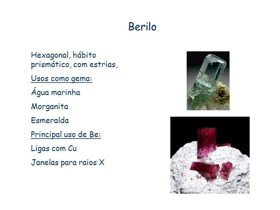 Berilo Hexagonal, hábito prismático, com estrias, Usos como gema: