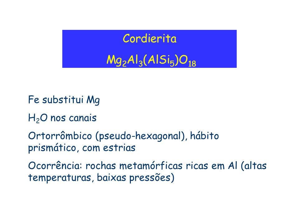 Cordierita Mg2Al3(AlSi5)O18 Fe substitui Mg H2O nos canais
