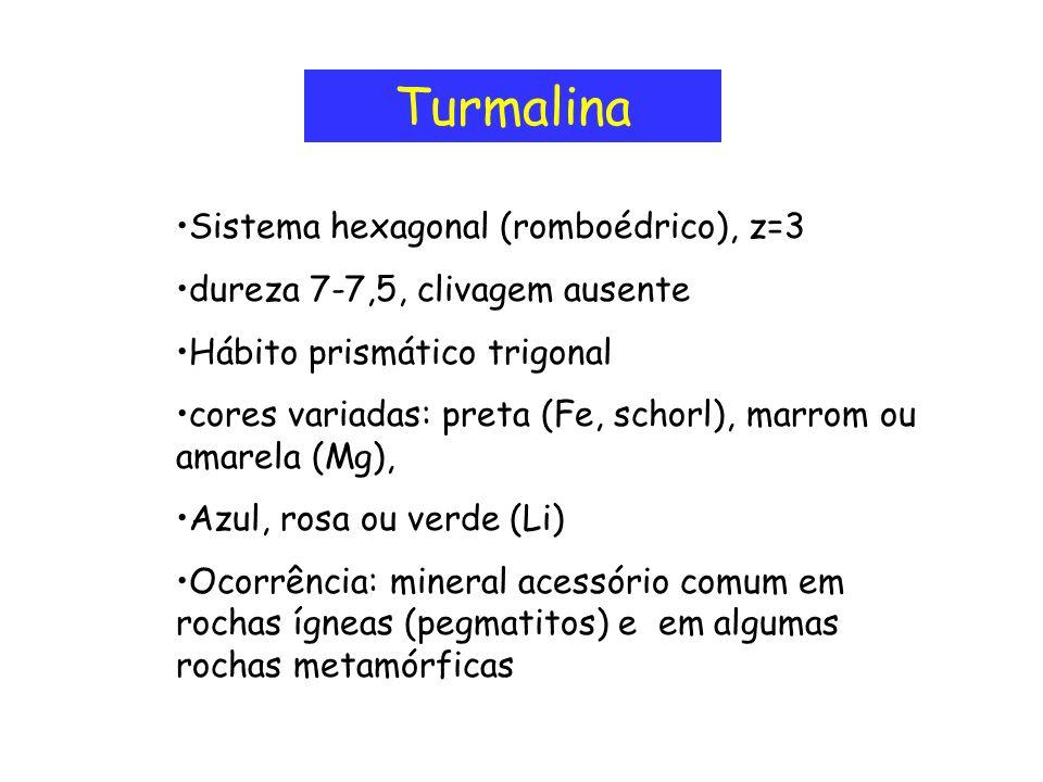 Turmalina Sistema hexagonal (romboédrico), z=3