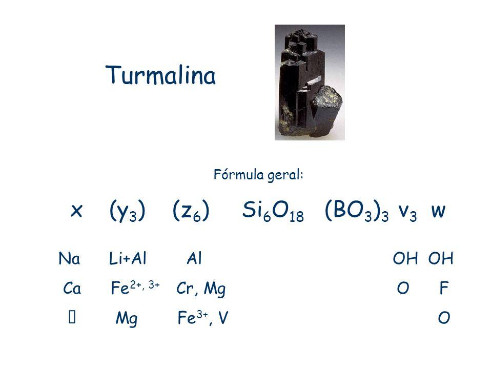 Turmalina x (y3) (z6) Si6O18 (BO3)3 v3 w Na Li+Al Al OH OH