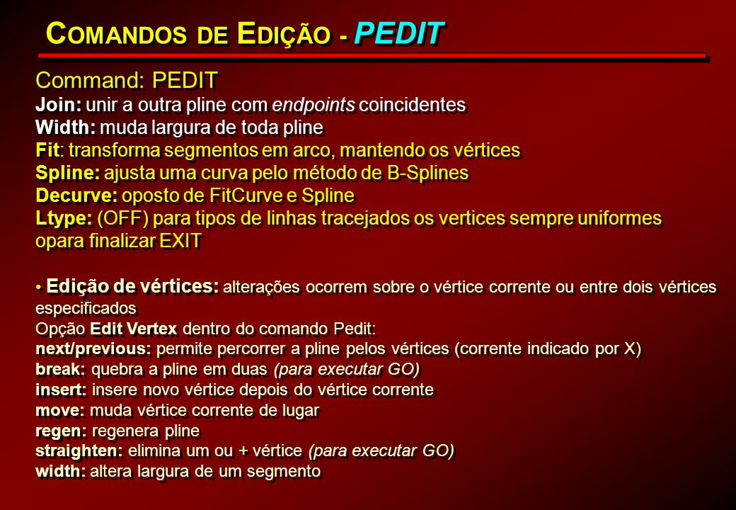 COMANDOS DE EDIÇÃO - PEDIT