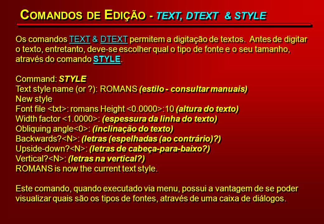 COMANDOS DE EDIÇÃO - TEXT, DTEXT & STYLE