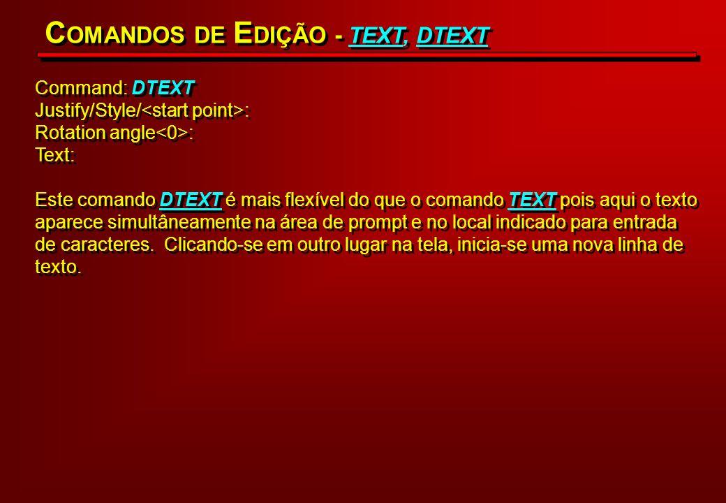 COMANDOS DE EDIÇÃO - TEXT, DTEXT