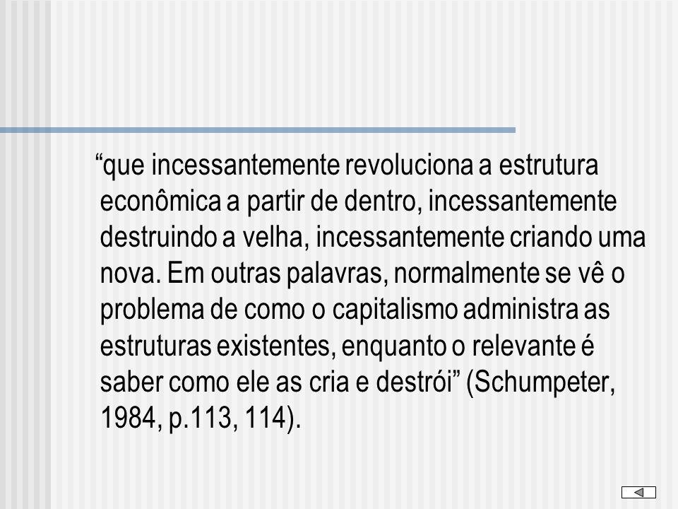 que incessantemente revoluciona a estrutura econômica a partir de dentro, incessantemente destruindo a velha, incessantemente criando uma nova.