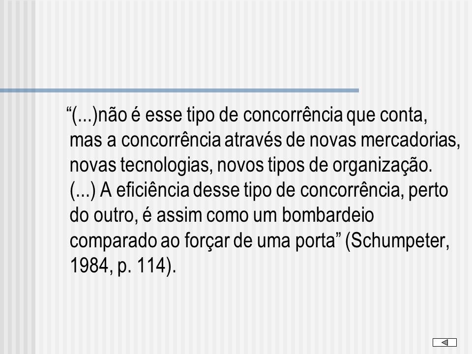 (...)não é esse tipo de concorrência que conta, mas a concorrência através de novas mercadorias, novas tecnologias, novos tipos de organização.