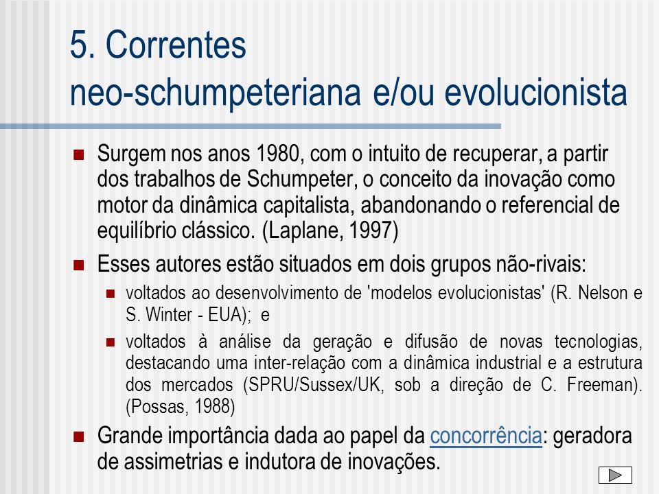 5. Correntes neo-schumpeteriana e/ou evolucionista