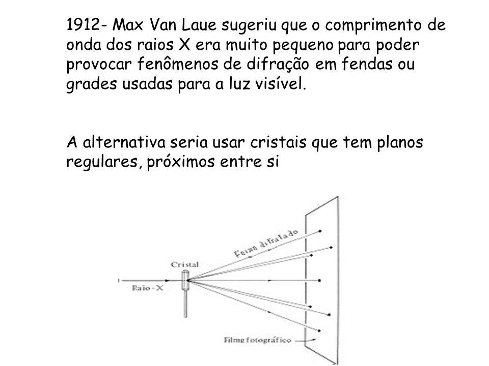 1912- Max Van Laue sugeriu que o comprimento de onda dos raios X era muito pequeno para poder provocar fenômenos de difração em fendas ou grades usadas para a luz visível.