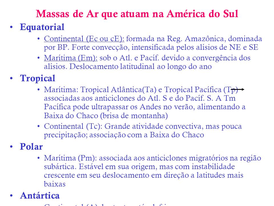 Massas de Ar que atuam na América do Sul