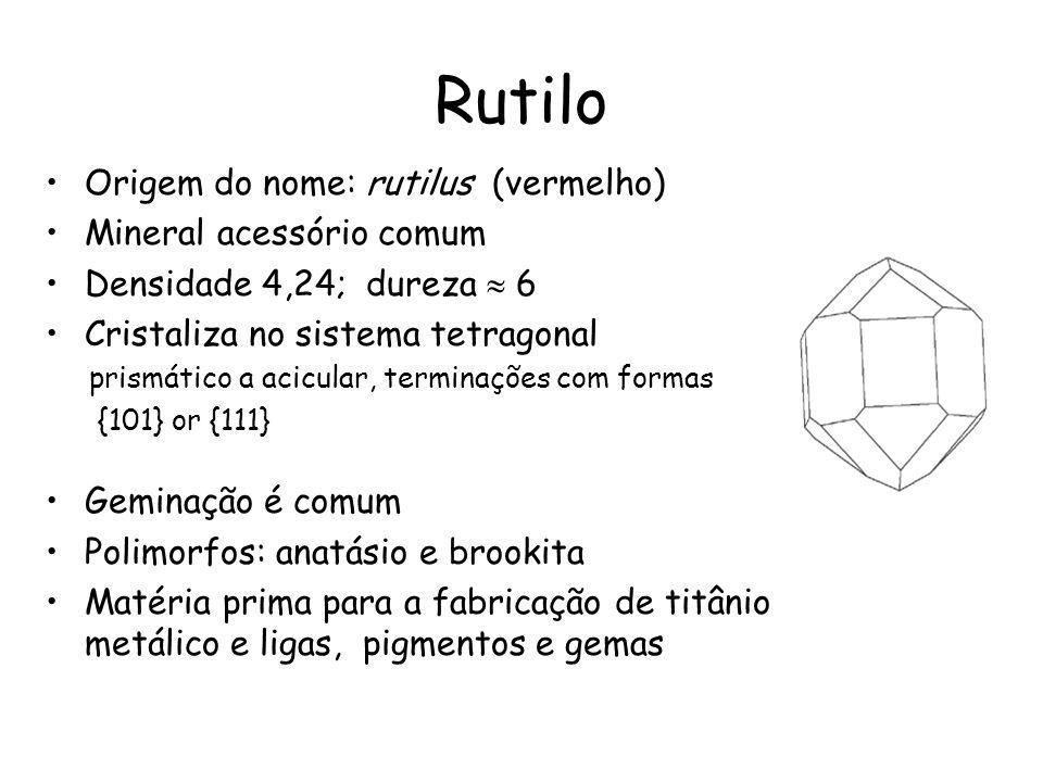 Rutilo Origem do nome: rutilus (vermelho) Mineral acessório comum