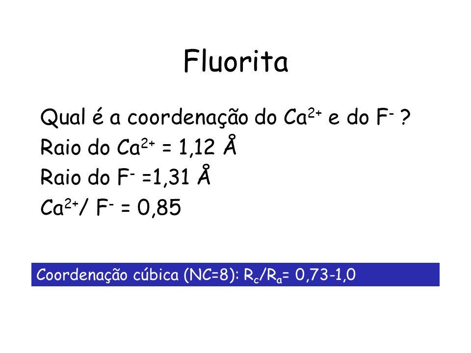 Fluorita Qual é a coordenação do Ca2+ e do F- Raio do Ca2+ = 1,12 Å