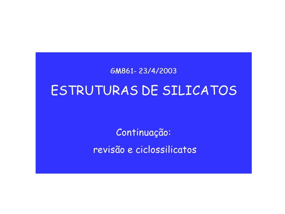 ESTRUTURAS DE SILICATOS
