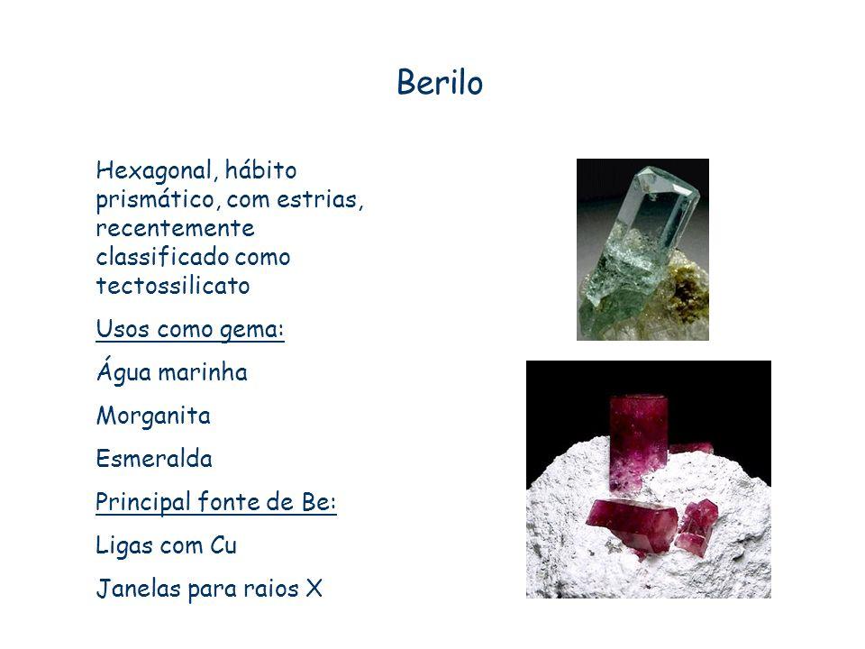 Berilo Hexagonal, hábito prismático, com estrias, recentemente classificado como tectossilicato. Usos como gema: